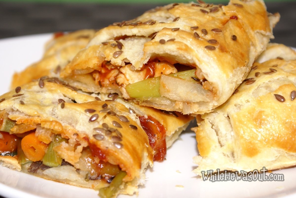 Leftover Revival – Chicken Veggie Puff Pastry Braid | While He Was ...