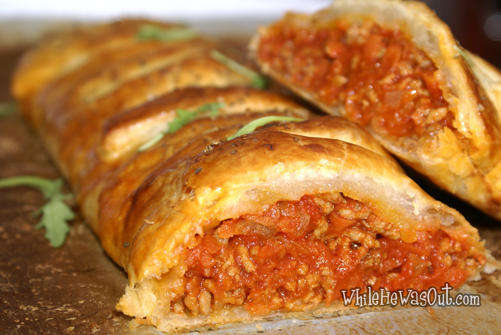 Bolognese Puff Pastry Braid | While He Was Out