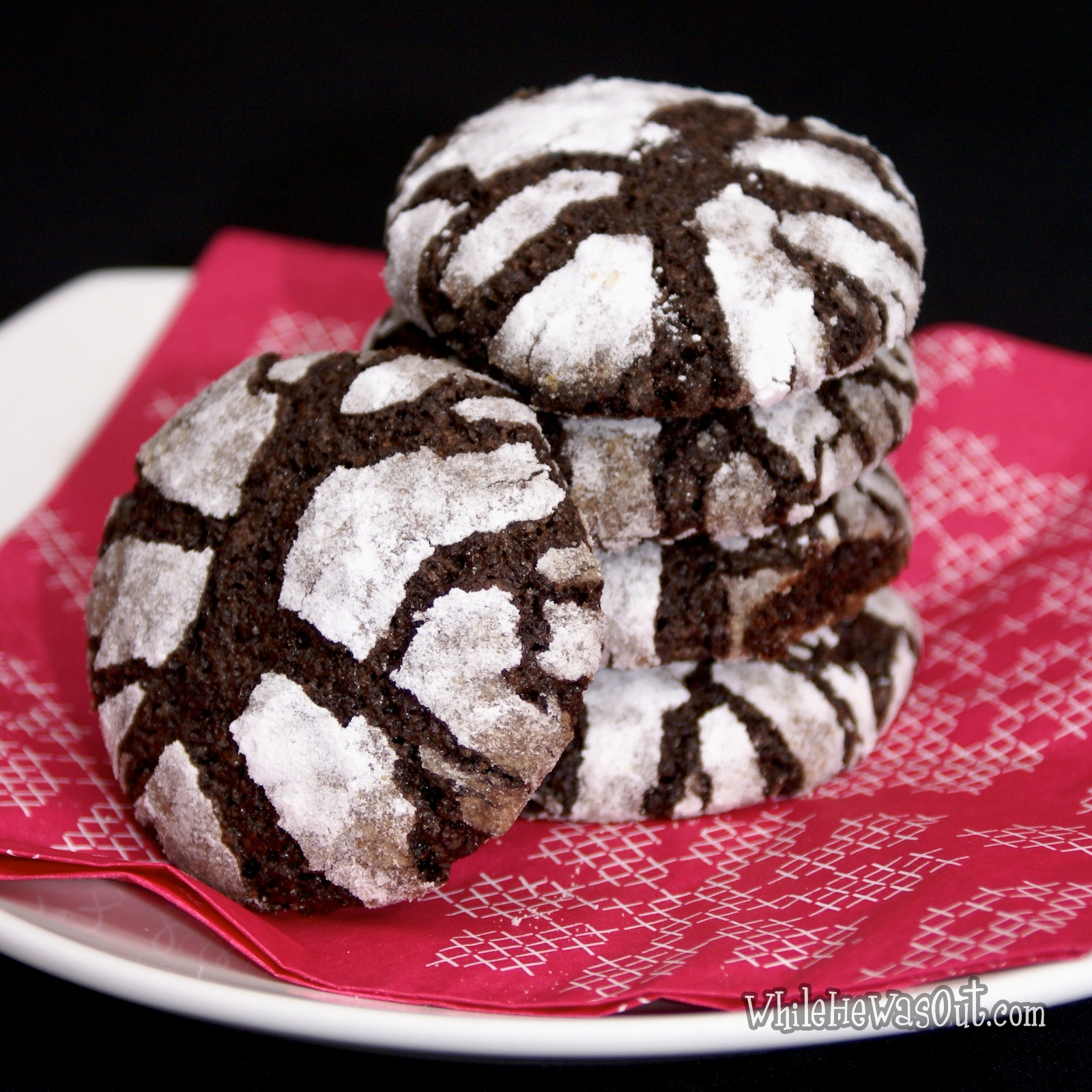 Chocolate Crinkle Cookies | While He Was Out